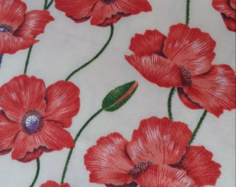 Red Poppies Cotton Fabric