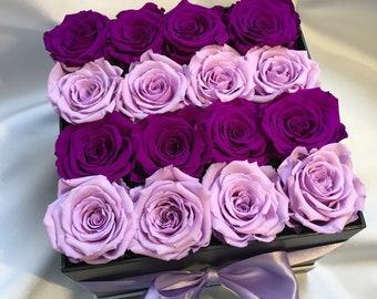 preserved roses diam.5,5-6,5cm in flower box