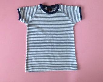 Robin T shirt: 1970s vintage kids stripe T shirt