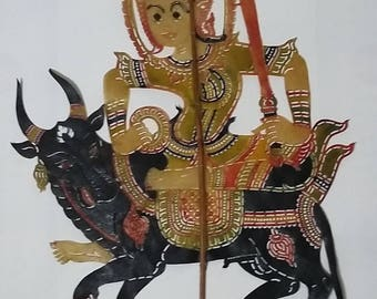 Vintage Thai leather shadow wayang, shadow play, puppet