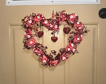 Red Ribbon Heart wit 3 Hanging Hearts