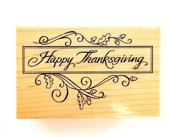 CLASSIC THANKSGIVING Banner with Oak Branch Accents Stampendous Wood Mount Rubber Stamp