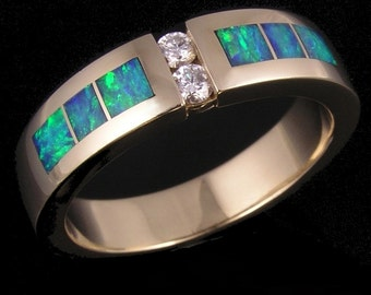 Australian opal and diamond man's wedding ring