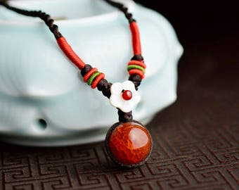 Red dragon ball Necklace