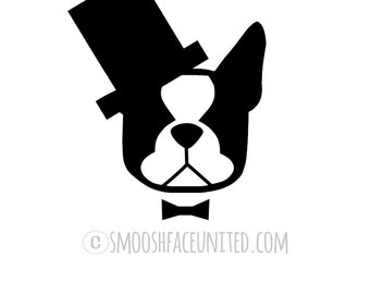 American gentleman - Boston Terrier sticker - cutout dog decal - adorable Boston with askew top hat and bow tie