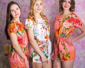 Drawstring Style Bridesmaids Rompers in Large Floral Blossom Pattern