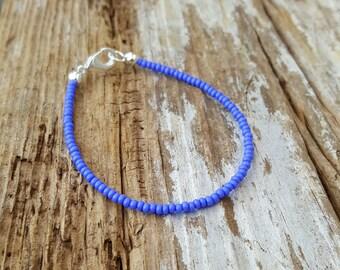 bracelet bleu ciel océan plage surf simple rocaille bijoux