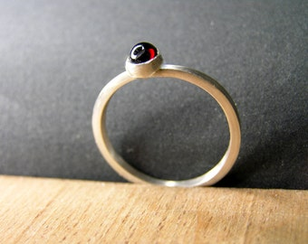 Red garnet and sterling silver square band ring. January birthstone. Garnet stacking ring