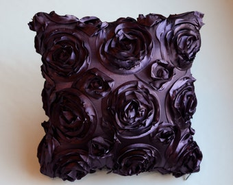 Textured Rose Square or Rectangular Pillow Cover - Purple