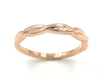 Twist Wedding Band.Rose Gold Wedding Band.Solid 14k Rose Gold,White Gold,Yellow Gold Band.Simple Wedding Ring.White Gold Wedding Band.
