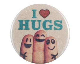 """I Heart Hugs 1.25"""" Button Pin"""