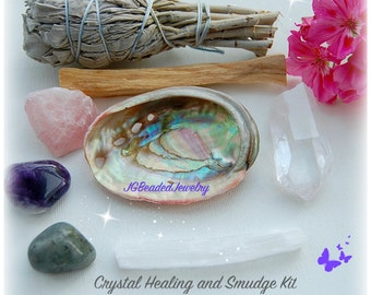 Crystal Healing Smudge Kit, Gemstone Set, Sage, Palo Santo, Abalone, Selenite, Quartz, Labradorite, Rose Quartz, Amethyst, LIMITED EDITION