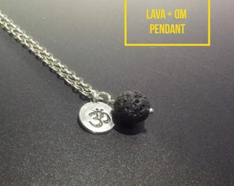 Lava Stone and Om Pendant