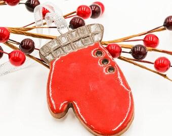 Mitten Ornament   Christmas Ornament   Handmade Ornament   Ceramic Ornament   Christmas Gift   Stocking Stuffer   Christmas Mitten