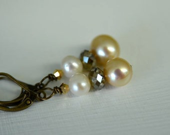 Ivory and Light Brown Pearl & Crystal Earrings with Golden Mocha and Sand Freshwater Pearls Handmade in Maine from North Atlantic Art Studio