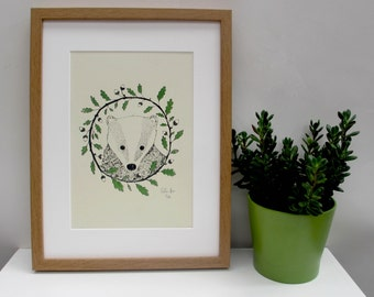 Art print 'Badger & oak' a 2 colour screen print featuring a badger in a circle of oak leaves and acorns.