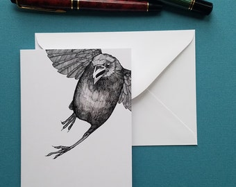crow caws at you while flying away paper greeting card note card with envelope 4 x 6