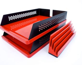 S O L D || 3-Piece Designer Desk Set || REXITE || Mod Red & Black File Trays + Mail Sorter || Panton Era Décor