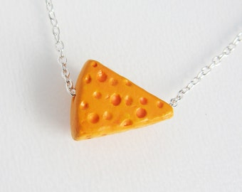 Cheese Slice Ceramic Necklace - Handmade Ceramic Cheese with holes  (R3A)