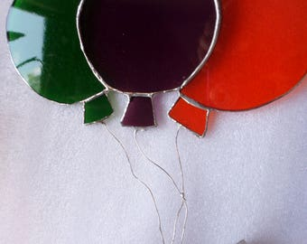 Stained glass  balloons suncatcher,  wall hanging, gift idea.