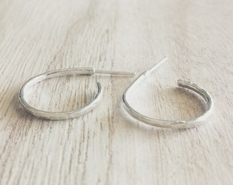 Hammered hoop earrings, hammered earrings, hoop earrings, textured earrings, earrings, sterling silver, silver, sterling silver earrings