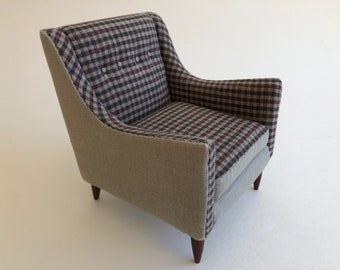 Taupe and Plaid Brandt Side Chair 1:6 Scale