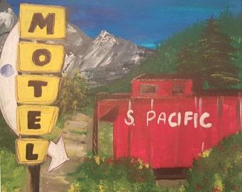 Original acrylic folk painting of railroad train car Motel, 8 x 8 canvas square, Red Caboose Americana Painting