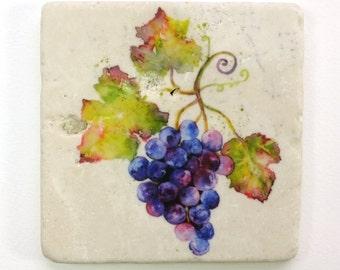 Grape Vine Absorbent Tumbled Stone Coaster Original Watercolor