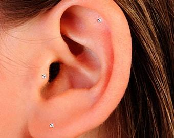 Tiny CZ Cartilage Stud, Small CZ Helix Stud, Tiny Stud Earrings, Small CZ Stud Earrings, Tiny Earrings, Tiny Stud Earrings, Stud Earrings