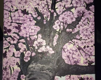 Oil painting pink spring tree