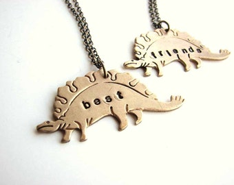 best friends dinosaur necklace set - stegosaurus personalized custom jewelry bff necklace - As seen on Live with Kelly & Michael