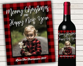 Printed or Digital Christmas Wine Bottle Labels Holiday Wine Bottle Labels Personalized Wine Bottle Labels Photo Wine Label Joy Wine Label