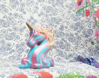 Vintage Unicorn- Figurine-  Room Decor- Home Decor- Boho Decor- Collectible- Baby Gift- Nursery Decor- Dorm Decor- Bohemian- Hand Painted