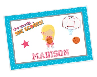 Basketball Personalized Placemat - Basketball Girl Blue Polka Dot Hoop Basketball with Name, Customized Laminated Placemat