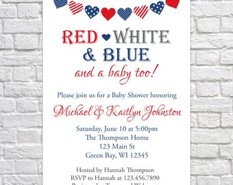 4th of July Baby Shower Invitation, Baby Q, Red White and Blue baby shower, patriotic baby shower invitation, summer baby shower invitation