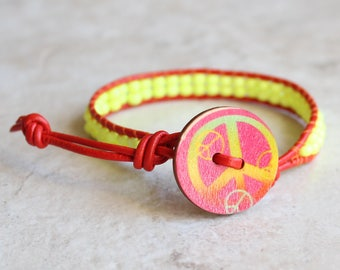 yellow peace sign leather wrap bracelet, peace jewelry, hippie jewelry, boho jewelry, unique gift, festival jewelry, beaded bracelet