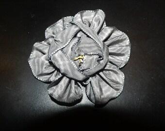 Blue Silk Ribbon Work Moire Flower Trim