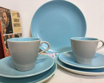 Vintage 1960s Poole Pottery Twintone, Dove Grey and Sky Blue Part Teaset