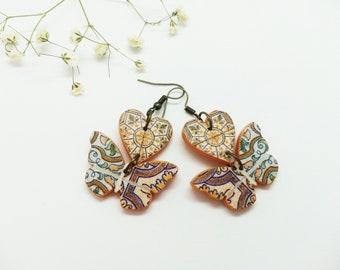 Handmade wooden decoupage earrings - heart and butterfly shape earrings - cute heart earrings - butterfly earrings - unique mandala earrings
