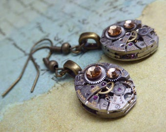Steampunk Earrings - Unique - One of a kind - Watch movement earring - Gold Swarovski crystals - Great for stocking stuffer or birthday gift