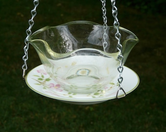 Bowl and Plate Bird Feeder, First Blush