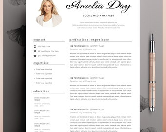 Professional Resume Template, CV Template Editable in MS Word and Pages, Instant Digital Download Size A4 and US Letter