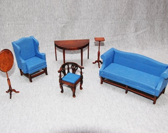 Reduced Handcrafted Dollhouse Living Room Furniture in Blue, One Inch Scale