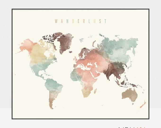 World map, World map poster, Wanderlust, World map wall art, World map print, watercolor travel Map, Large world map, ArtPrintsVicky