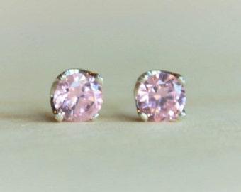 5mm Pink Cubic Zirconia Argentium Silver Earrings - Nickel Free Hypoallergenic Stud Earrings