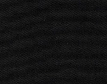 "Black Canvas, Solid Black Canvas, 100% Cotton Canvas, 12-Ounce, 64"" Wide, by the half yard"