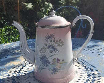 Vintage French painted enamel coffee pot