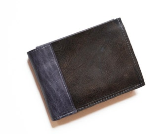 Minimalist Leather Wallet for Men, Brown Leather Bifold with ID Holder, Guys Billfold Classic Handsome Style - The Wesley in Brown + Slate
