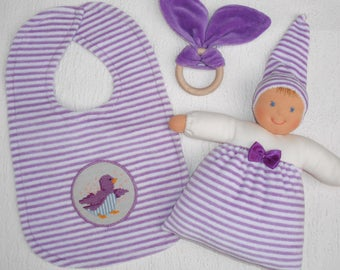 Baby shower gift set in lavender, Waldorf baby doll with bunny ears Teether + Baby bibs  Newborn gift, Natural baby, New mom gift Handmade