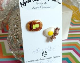 Mismatch Pancakes Bacon & Eggs Breakfast Stud Earrings
